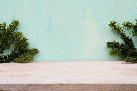 pine tree needles: Vintage retro  fir branches on the boards