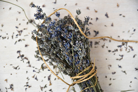Dried lavender. Traditional lavender flower drying. Stock fotó