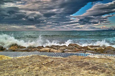 breakwater: Breakwater - Mediterr�neo Foto de archivo