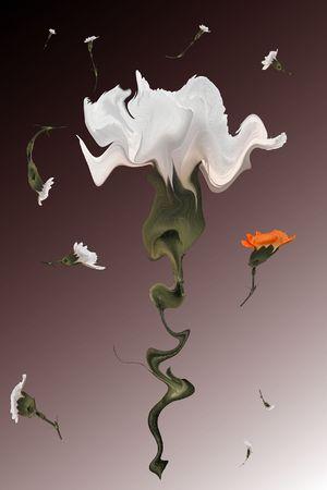 transformed: Composici�n abstracta de flores digitalmente transformados Foto de archivo
