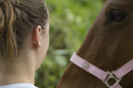 nostrils: Girl with horse