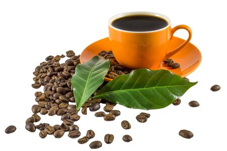 A cup of coffee on a white background with green leaves and coffee beans. A cup of orange color.