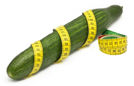 penis: cubumber wrapped in a tape measure