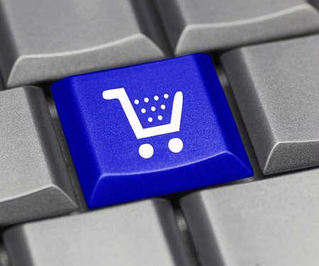 keyboard key: computer key blue - cart Stock Photo