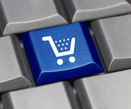 shopping cart button: computer key shiny blue - cart