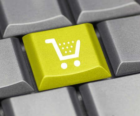 shopping cart button: computer key yellow - cart