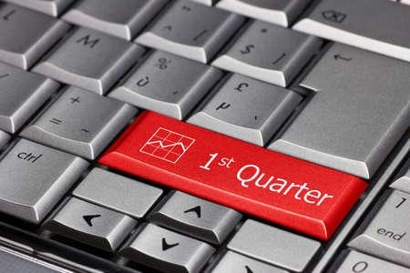 Computer key - 1st quarter Stock Photo