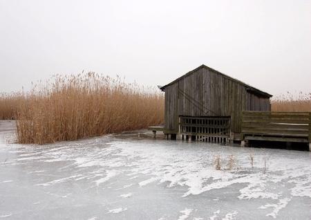 Hut in Frozen Lake photo