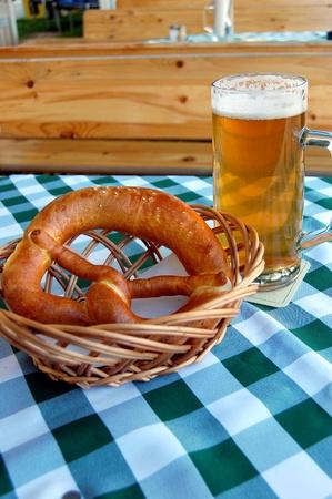 Beer and Pretzel  Stock Photo - 9324740