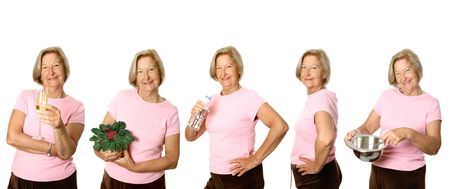 vital: Mature woman in different lifestyle activities, isolated on white.