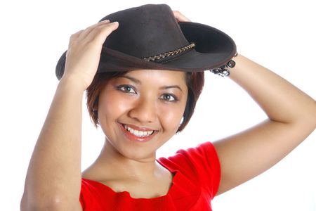 Female Malay Asian in leather hat, isolated on white photo