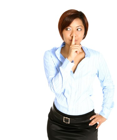 requesting: Beautiful Asian businesswoman with finger on lips in gesture of requesting for silence, isolated on white.