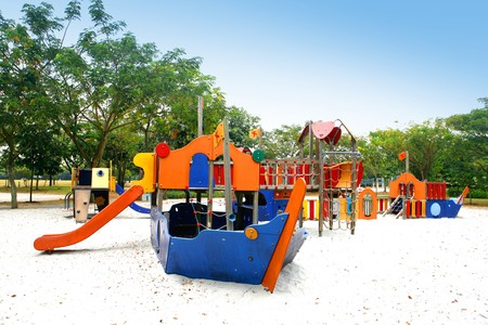 Colorful children's playground in the tropics.