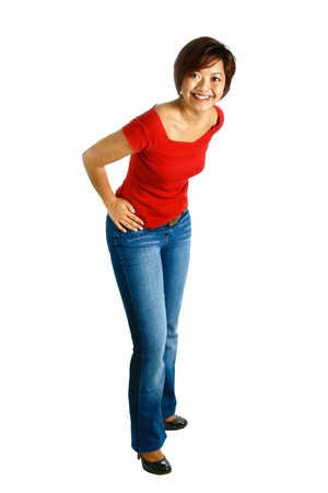 Female Malay Asian in denim jeans and red casual top, isolated with copyspace photo