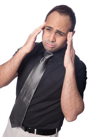 suffers: Young businessman suffers stress headache  Stock Photo