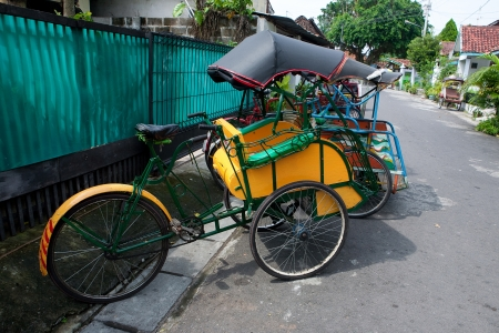 jogjakarta: A traditional trishaw in the streets of Jogjakarta, Indonesia