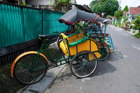trishaw: A traditional trishaw in the streets of Jogjakarta, Indonesia