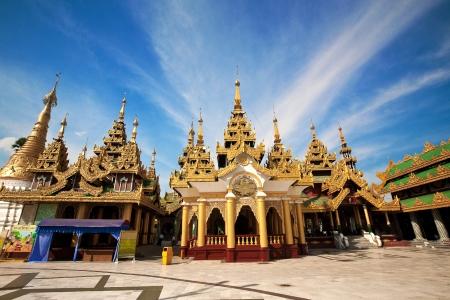 Shrine and pavilions surrounding the main central pagoda at Shwedagon pagoda, Yangon, Myanmar