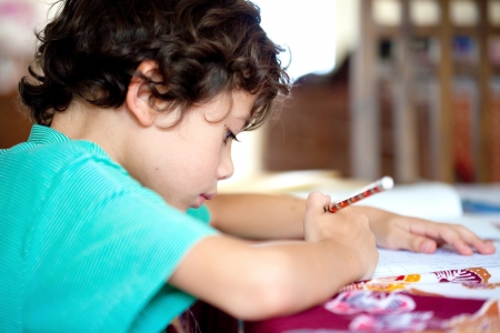 Young boy doing his homework at home Stock Photo - 14688848