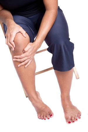 Woman suffering from pain in knee due to injury photo