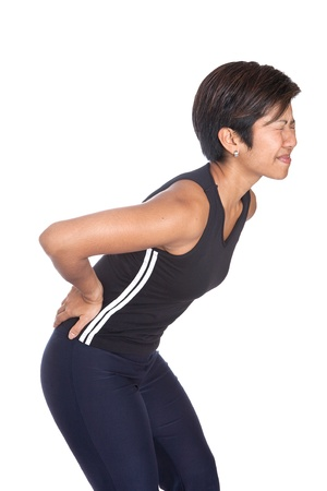 sport injury: Young Asian woman suffering from severe backache