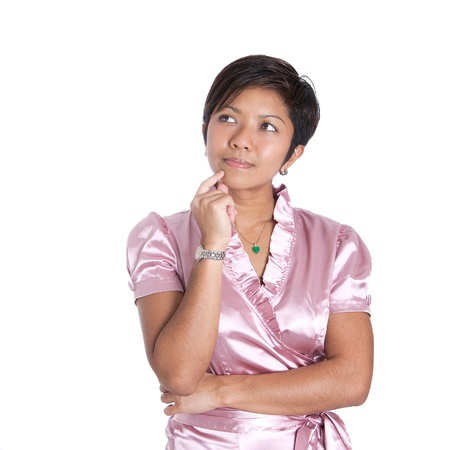 сooking: Young Asian businesswoman in a thinking pose, over white background.