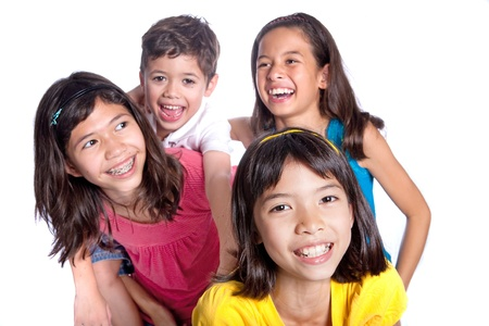 fond of children: Group of happy friends from different background Stock Photo