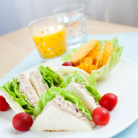 sandwich spread: Tuna sandwich with salad and tomato