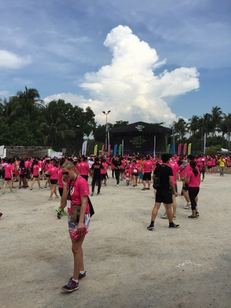 Participants arriving at starting point of AIA insurance sponsored Music Run 2015 event held at Sentosa Island, Singapore 11 April 2015