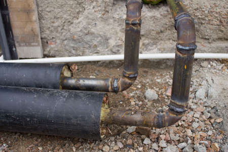 Pipe in polyurethane foam insulation. Thermal insulation of pipes. Pipes for heating and water supply networks.