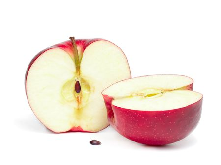 half cut: Two half of red apple isolated on the white background.