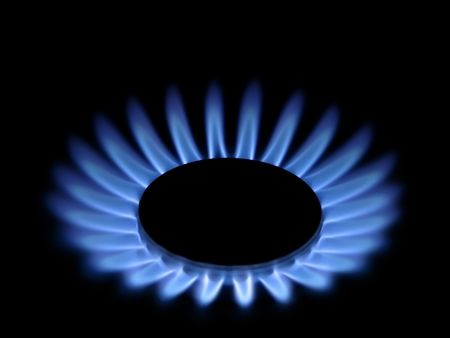 The flames of gas stove. photo