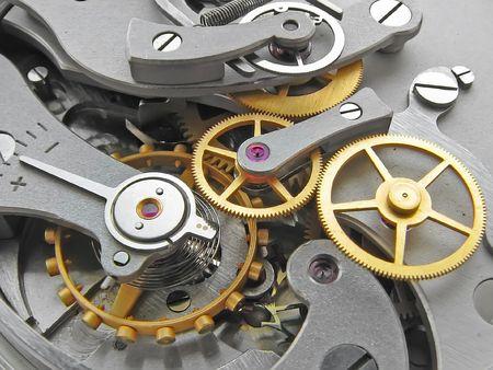 Reloj de metal de cerca las obras.