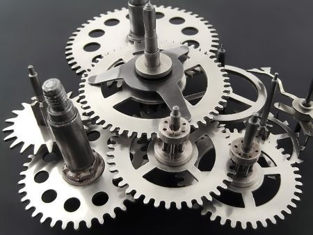 mechanism:  Closeup of gears from clock works. Stock Photo