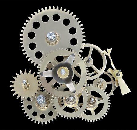 engrenages: Gros plan de la bo�te de vitesses de l'horloge fonctionne. Banque d'images