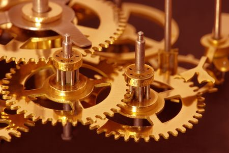 Closeup of gears from clock works. Archivio Fotografico