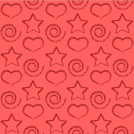 Seamless pattern of stars, scrolls and hearts. photo