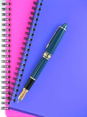 diagonal diary education: Ink pen end two notebooks. Stock Photo