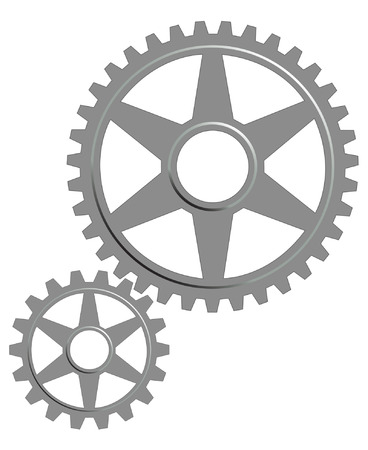 machine part:  Gear set on the white background. Illustration