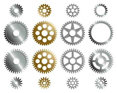 Various gears on the white background. Vettoriali
