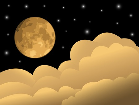 Full moon, clouds and stars. Stock Vector - 5168243