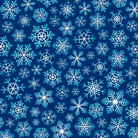Dark blue christmas background with blue and white snowflakes. Vettoriali
