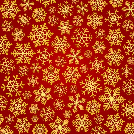 Red christmas background with golden snowflakes. Vector