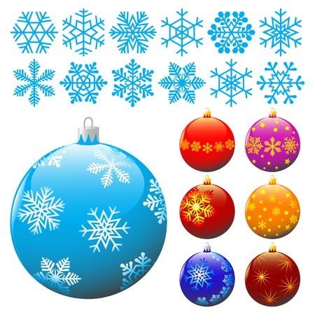 wintertime: Collection of snowflakes and christmas balls.