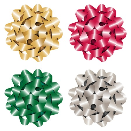 Set of multicolored gift bows. Vector