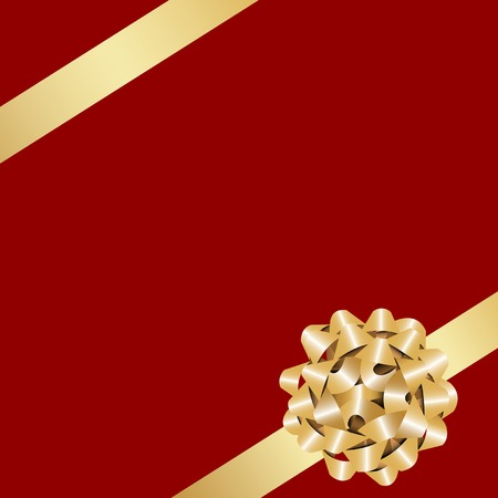 Golden gift bow with ribbon on the red background. Vector
