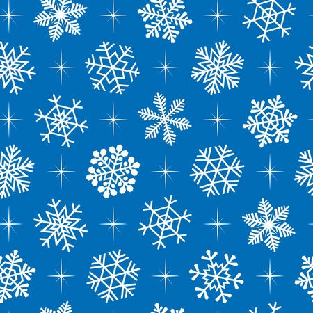 Blue christmas seamless background with white snowflakes. Vector
