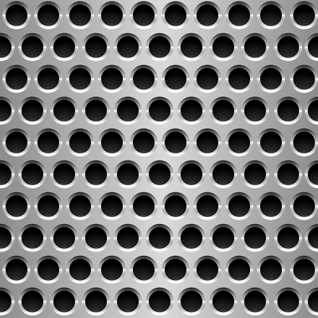 cold steel: Seamless vector wallpaper of perforated metal plate. Illustration