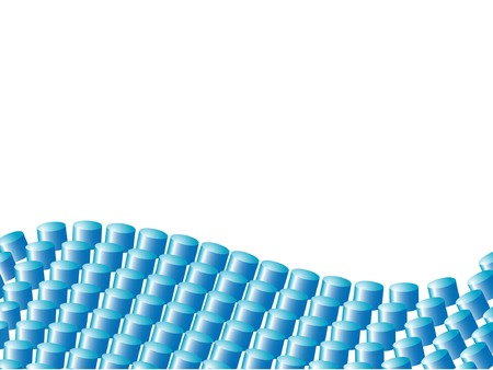 Vector banner made of blue cylinders forming a wave. Vector