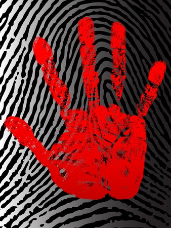 murder: Bloody hand print on the background of fingerprint. Illustration